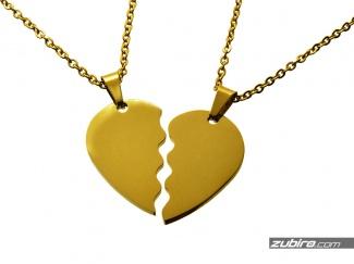 Złote połówki serca na prezent pod grawer dla pary walentynki