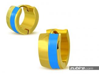 Złoto-błękitne kolczyki męskie