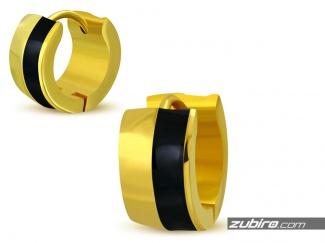 Złoto-czarne kolczyki męskie